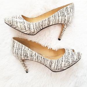 Enzo Angiolini Peeptoe Leather Heels